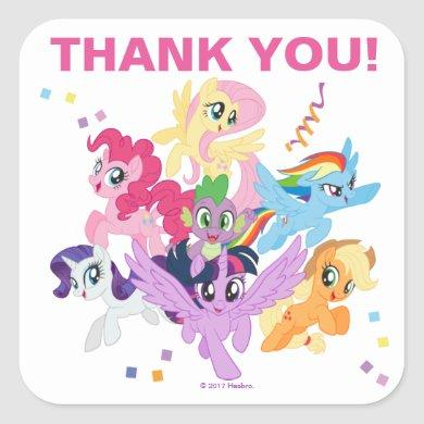 My Little Pony   Hot Pink Birthday Thank You Square Sticker