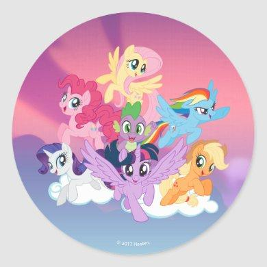 My Little Pony | Mane Six on Clouds Classic Round Sticker