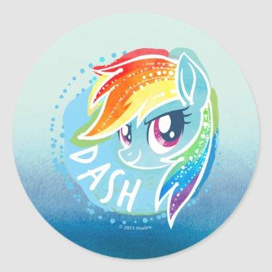 My Little Pony | Rainbow Dash Watercolor Classic Round Sticker