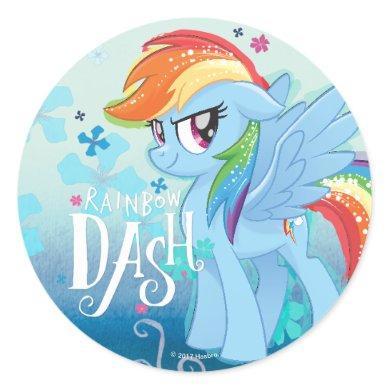 My Little Pony   Rainbow Dash Watercolor Flowers Classic Round Sticker