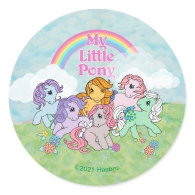 My Little Pony Retro   Ponies Under Rainbow Classic Round Sticker