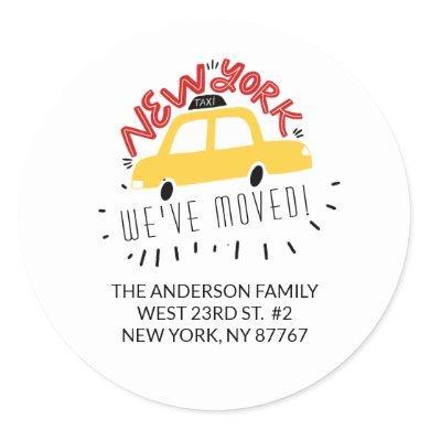 New York We've Moved New Address Label Sticker
