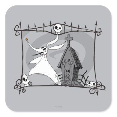 Nightmare Before Christmas | Zero in Cemetery Square Sticker