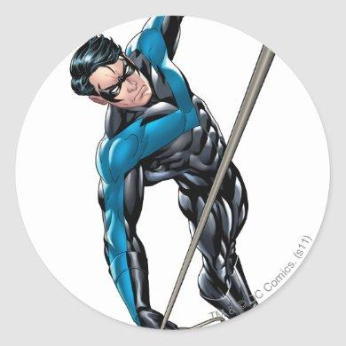 Nightwing with rope classic round sticker