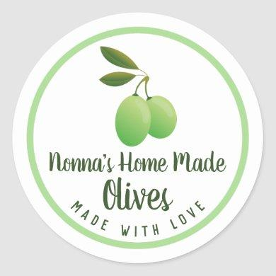 Nonna's Homemade Pickled Olive Preserves Classic Round Sticker