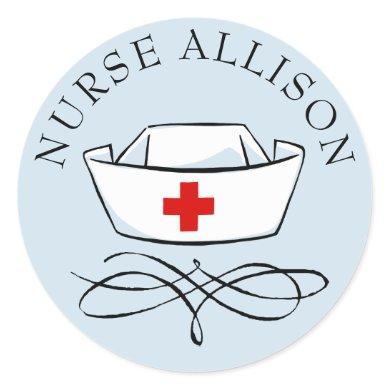 Nurse Cap Add Name Classic Round Sticker