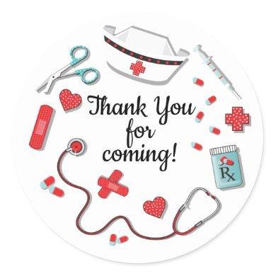Nurse icon stickers favor tags