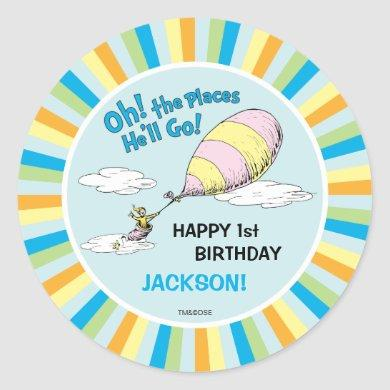 Oh, The Places He'll Go! - First Birthday Classic Round Sticker