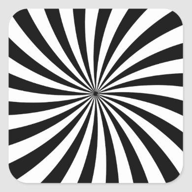 Optical Illusion Moving Black and White Swirl Square Sticker