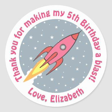 Outer Space Girls Birthday Party Thank You Favor Classic Round Sticker