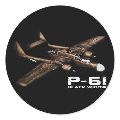 P-61 Black Widow Classic Round Sticker