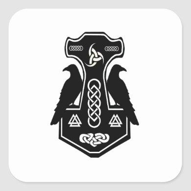 Pagan Celtic Norse Thor's Hammer Square Sticker