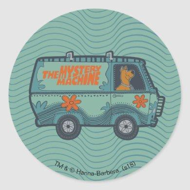 Paisely Scooby-Doo Driving Mystery Machine Classic Round Sticker
