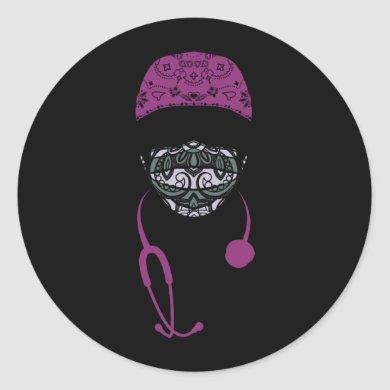 paisley med mask classic round sticker