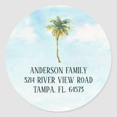 Palm Tree We've Moved New Address Label Sticker