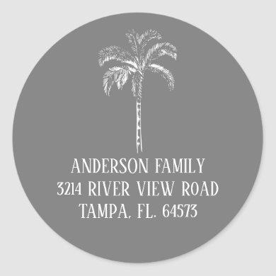 Palm Tree We've Moved New Address Label Sticker