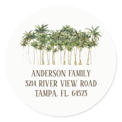 Palm Trees We've Moved New Address Label Sticker