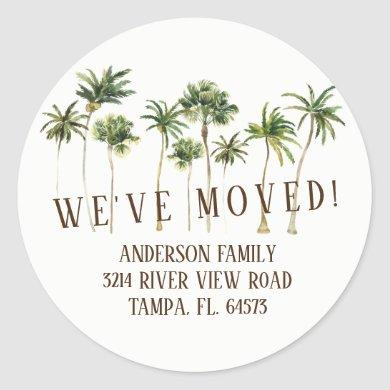 Palm Trees We've Moved New Address Label Sticker