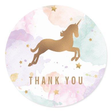 Pastel Unicorn Birthday Party Thank You Classic Round Sticker