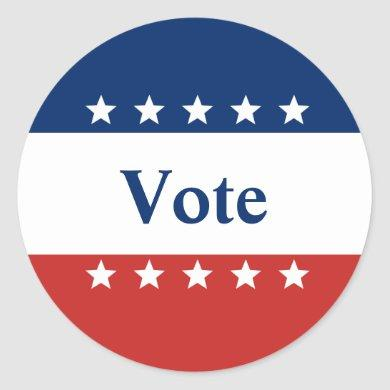 Patriotic Red White and Blue with Stars Vote Classic Round Sticker