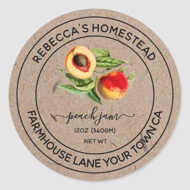 Peach Jam Kraft Paper Canning Jar Labels