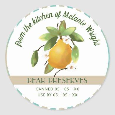 Pears Fruit Canning Classic Round Sticker
