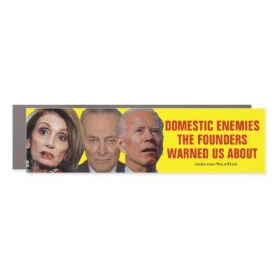 Pelosi Schumer Biden Domestic Enemies Car Magnet