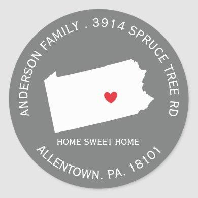 PENNSYLVANIA State |  New Address Label Sticker