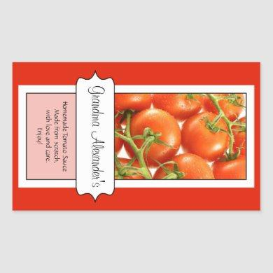 Personalized Canning Jar Label, Custom Tomato Rectangular Sticker