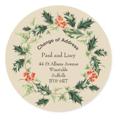 Personalized Christmas Change of Address Classic Round Sticker