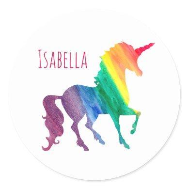 Personalized Cool Rainbow Unicorn Watercolor Kids Classic Round Sticker