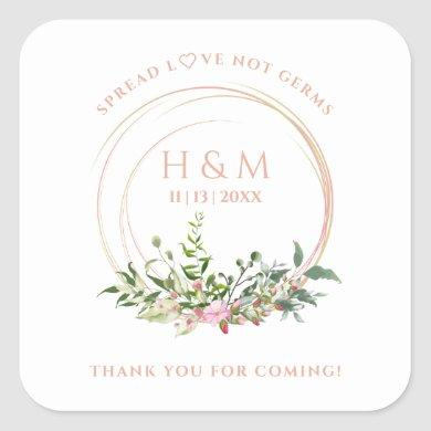 Personalized Floral Garland Pink Wedding Sanitizer Square Sticker