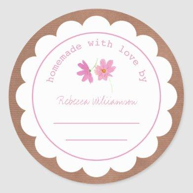 Personalized Jam Canning   Homemade Pink Floral Classic Round Sticker