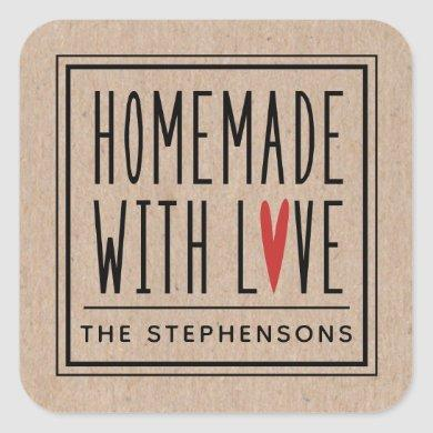 Personalized Kraft Made With Love Square Sticker