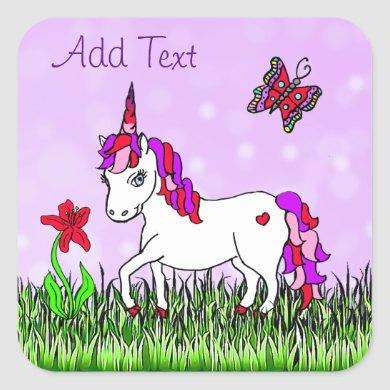 Personalized Purple Unicorn, Flowers and Butterfly Square Sticker