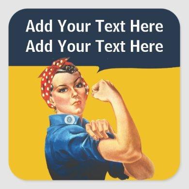 Personalized Rosie the Riveter Vintage Feminism Cl Square Sticker
