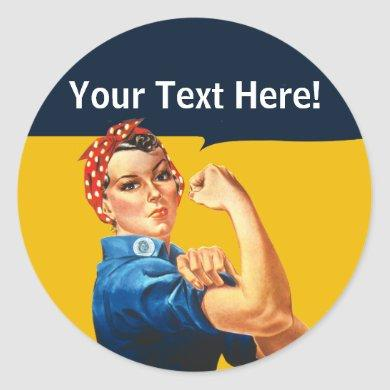 Personalized Rosie the Riveter Vintage Feminism Classic Round Sticker