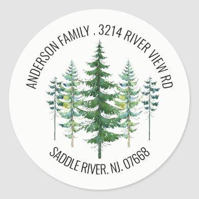 Pine Spruce Trees | New Home Address Label Sticker
