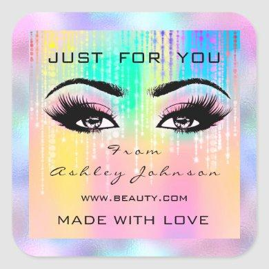 Pink Beauty Lashes Drips Makeup Holograph Rainbow Square Sticker