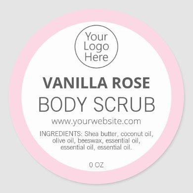 Pink Border Vanilla Rose Logo Labels