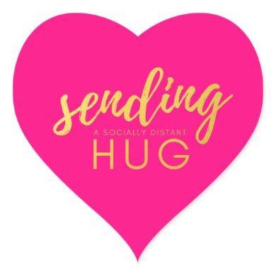 Pink Gold Sending Social Distancing Hug Heart Sticker