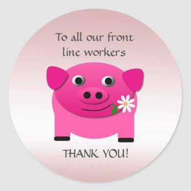 Pink Pig Offers Flower Front Line Workers Stickers