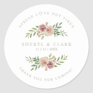 Pink Sage Custom Garland Wedding Sanitizer Classic Round Sticker