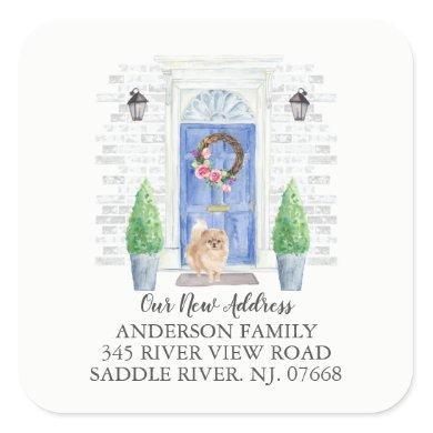 Pomeranian Blue Door New Address Label Sticker