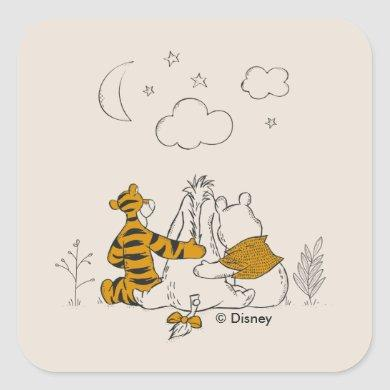 Pooh, Eeyore & Tigger | Looking up at the Sky Square Sticker