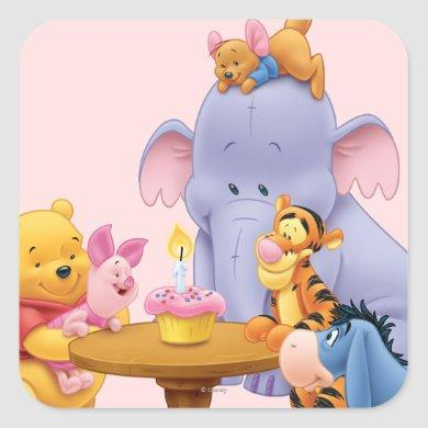 Pooh & Friends Birthday Square Sticker
