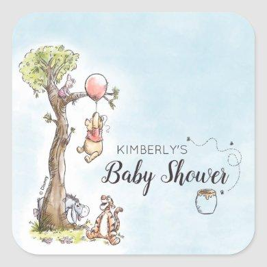 Pooh & Friends Watercolor | Baby Shower Square Sticker