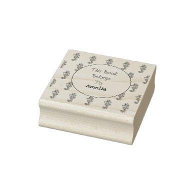 Pretty Seahorses Bookplate Rubber Stamp