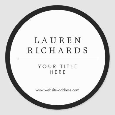 Professional Luxe Black and White Classic Round Sticker