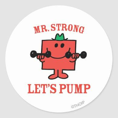 Pumping Iron With Mr. Strong Classic Round Sticker